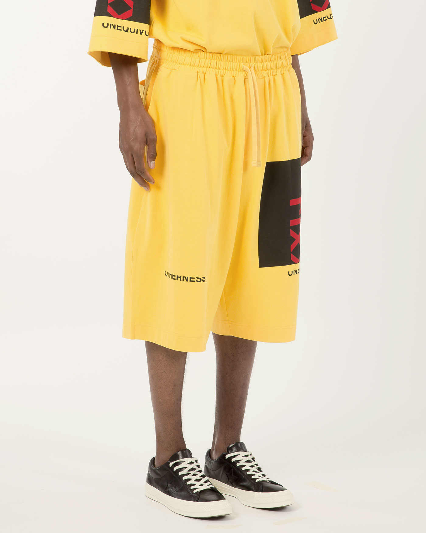 Collage Printed Light Jersey Wide Trousers Yellow