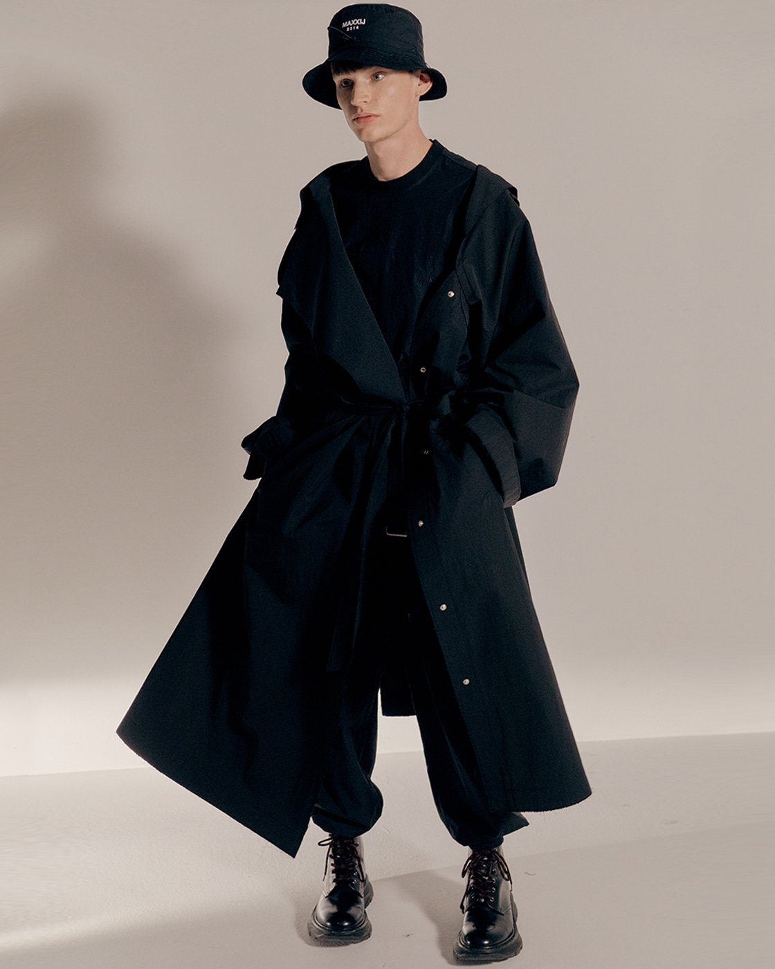 Black Cotton Nylon Deconstructed Trench coat
