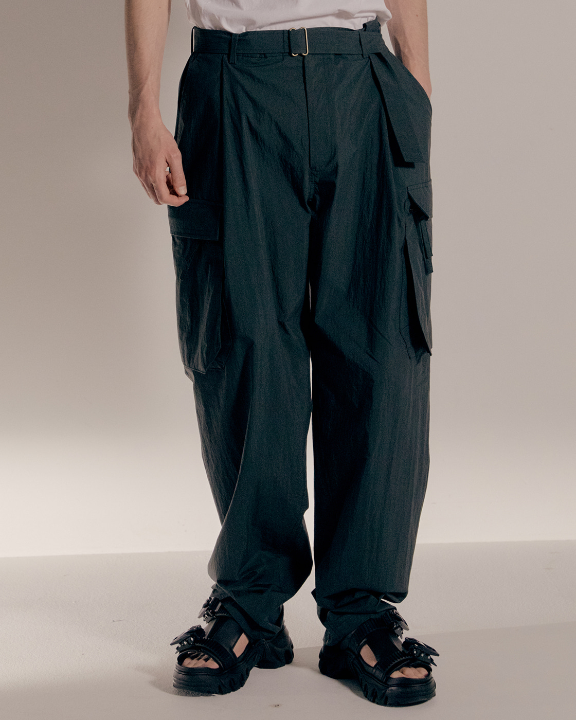 Dark Green Loose Cargo Trousers