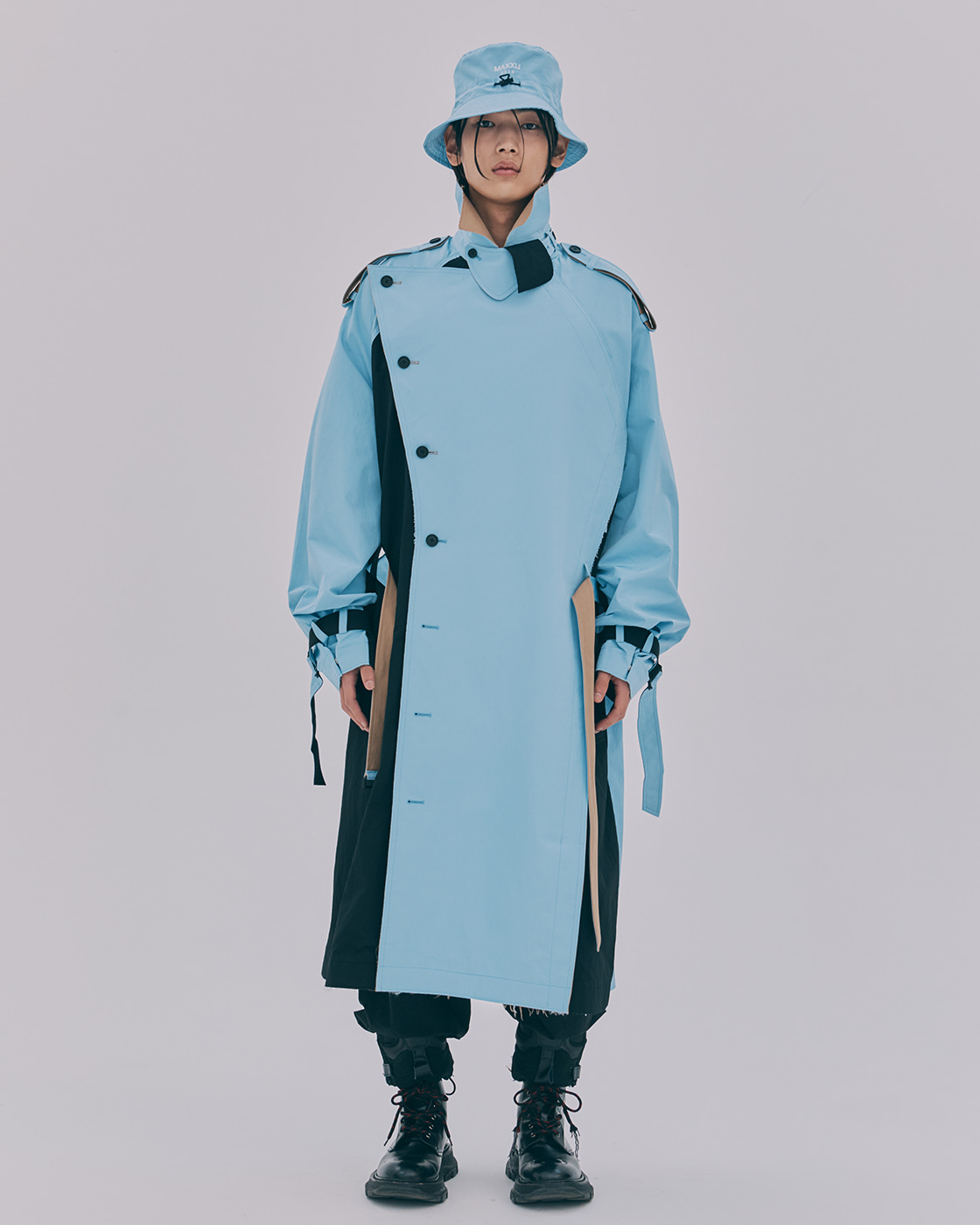 Multi Color Blocking Double Breasted Trench Coat