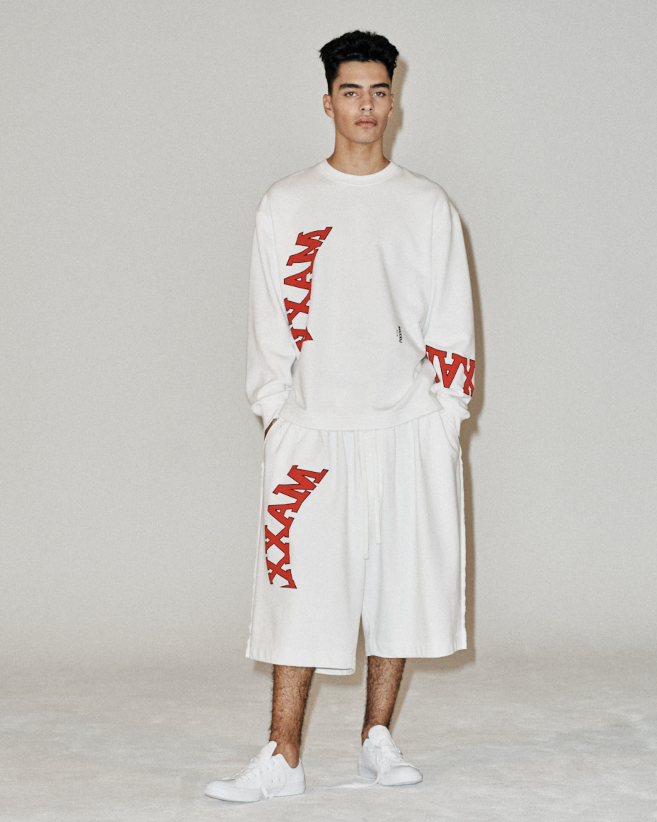 Collage Printed Jersey Wide Trousers White