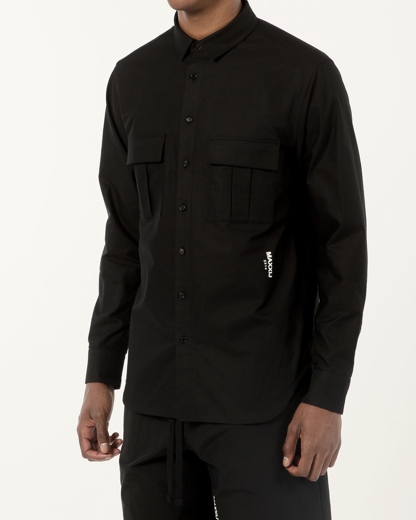 Military Button Down Oxford Shirt Black