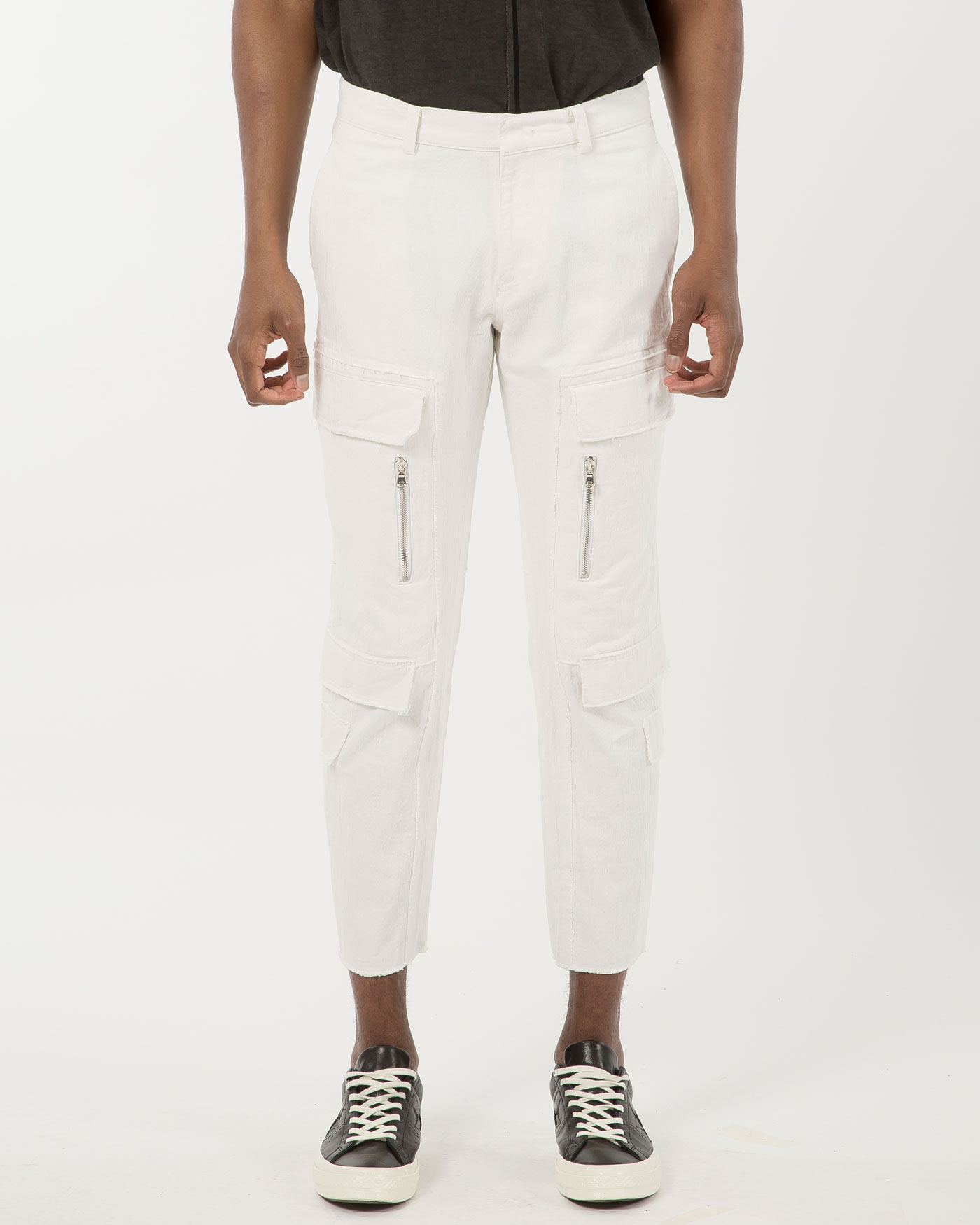 New Cargo Denim Trousers White