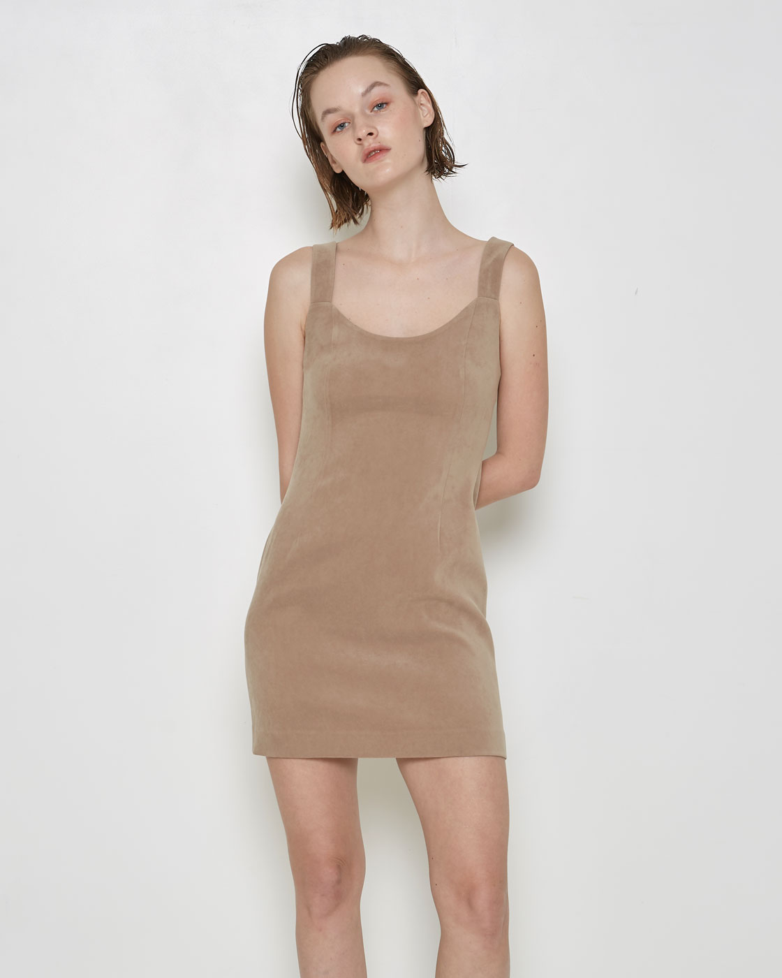 Beige Fitted Dress