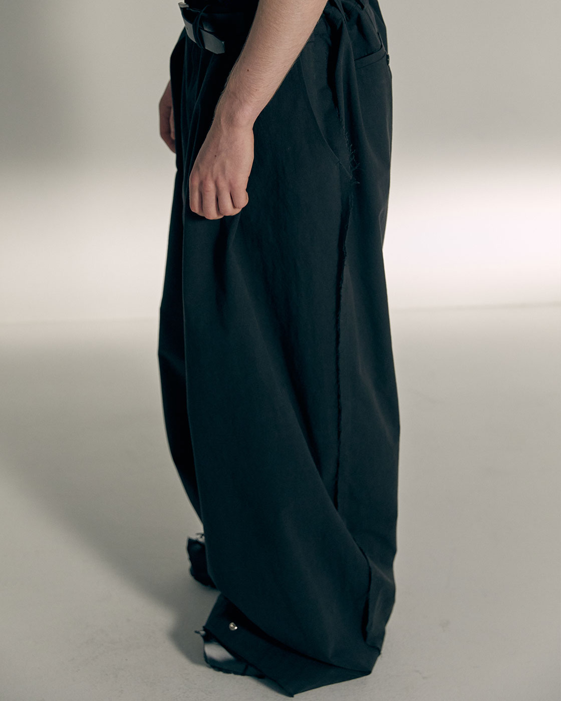Charcoal Pressbutton hem Signature Wide Trousers