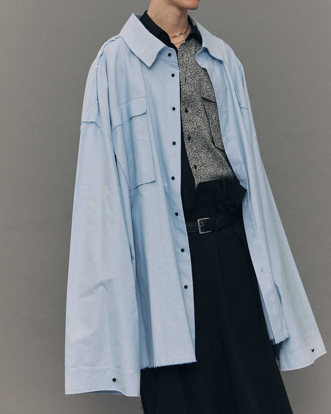 Sky Blue Cotton Oxford Oversized Shirts