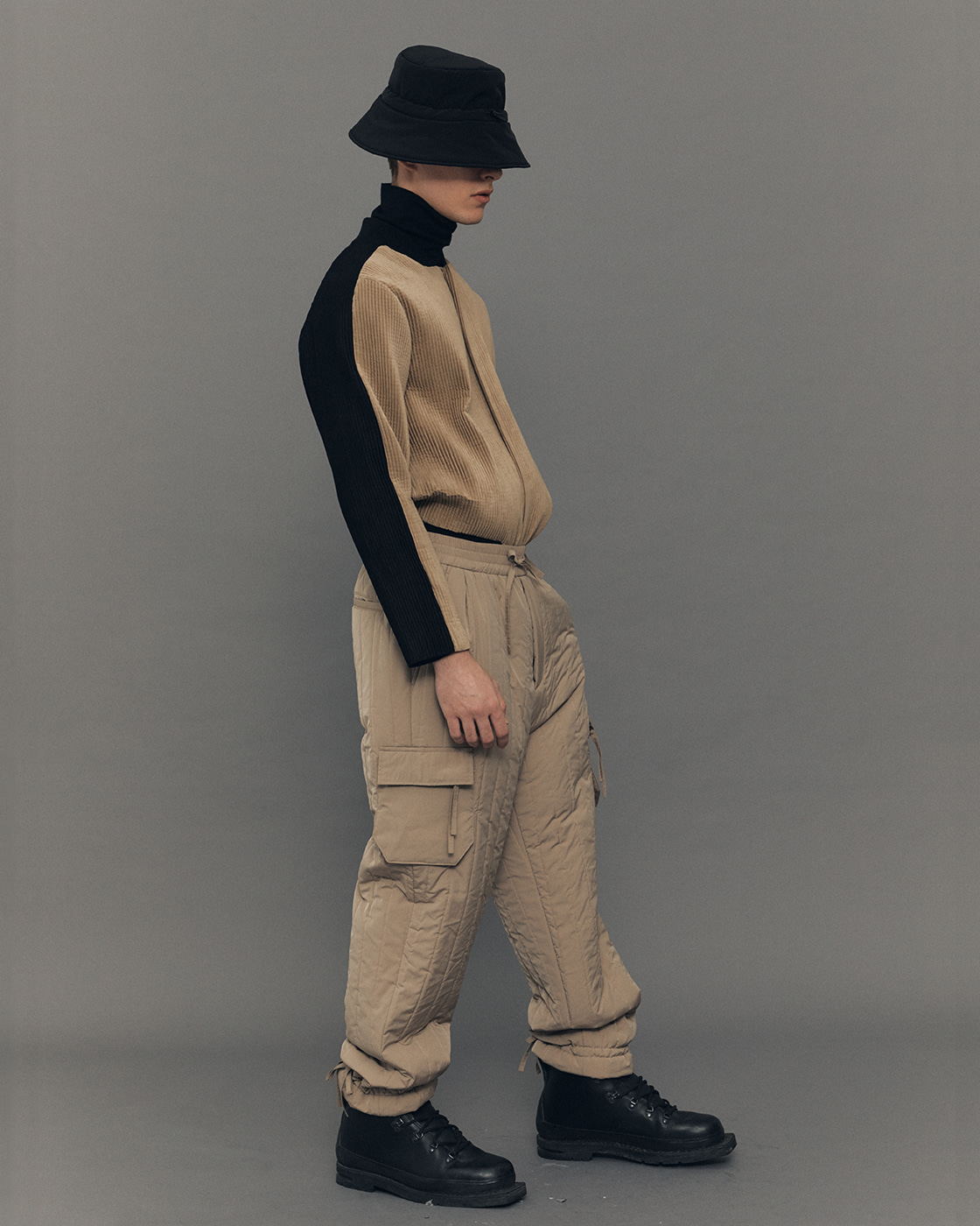 Beige Padding Quilted Cargo Trousers