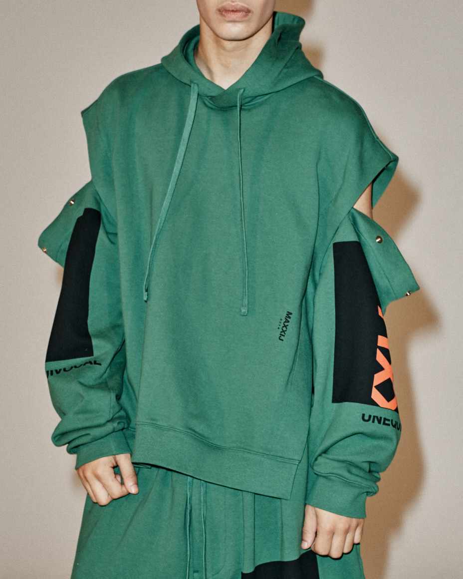 Collage Printed Detachable Sleeve Hoodie Sweatshirt