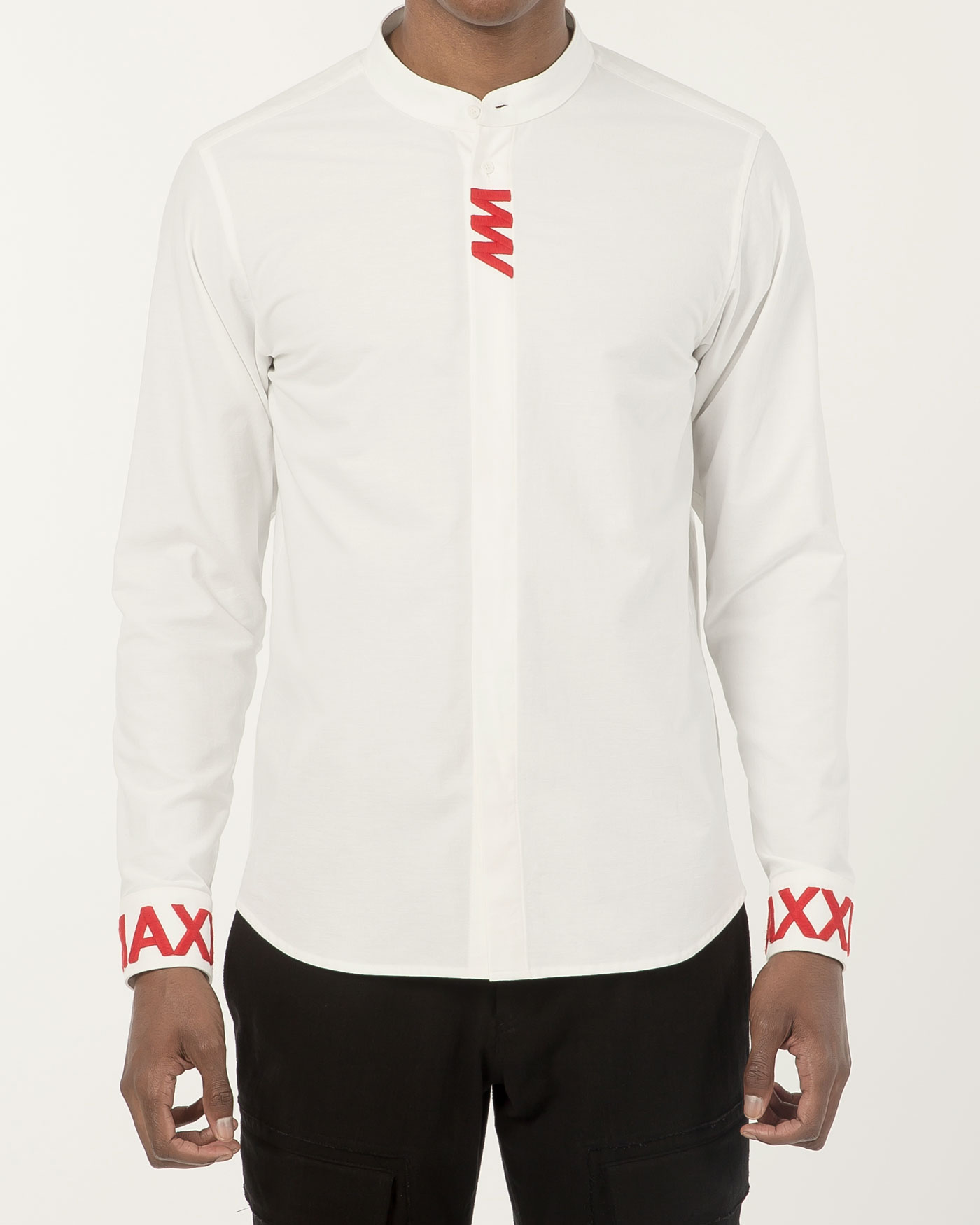 Stand Collar shirt with Chest Embroidered