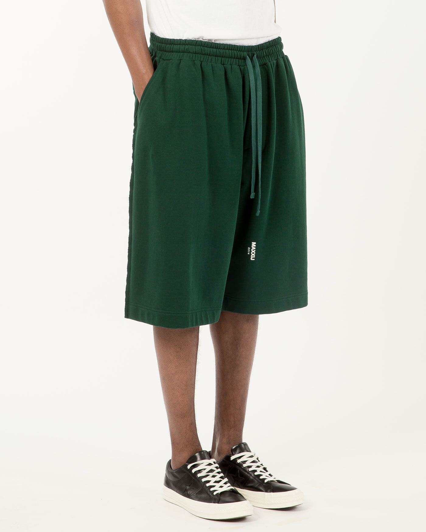 Logo Jersey Wide Trousers Dark Green