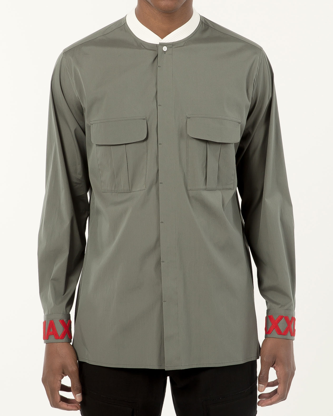 Military Bomber Neck Shirt with Cuff Embroidered Blue Khaki