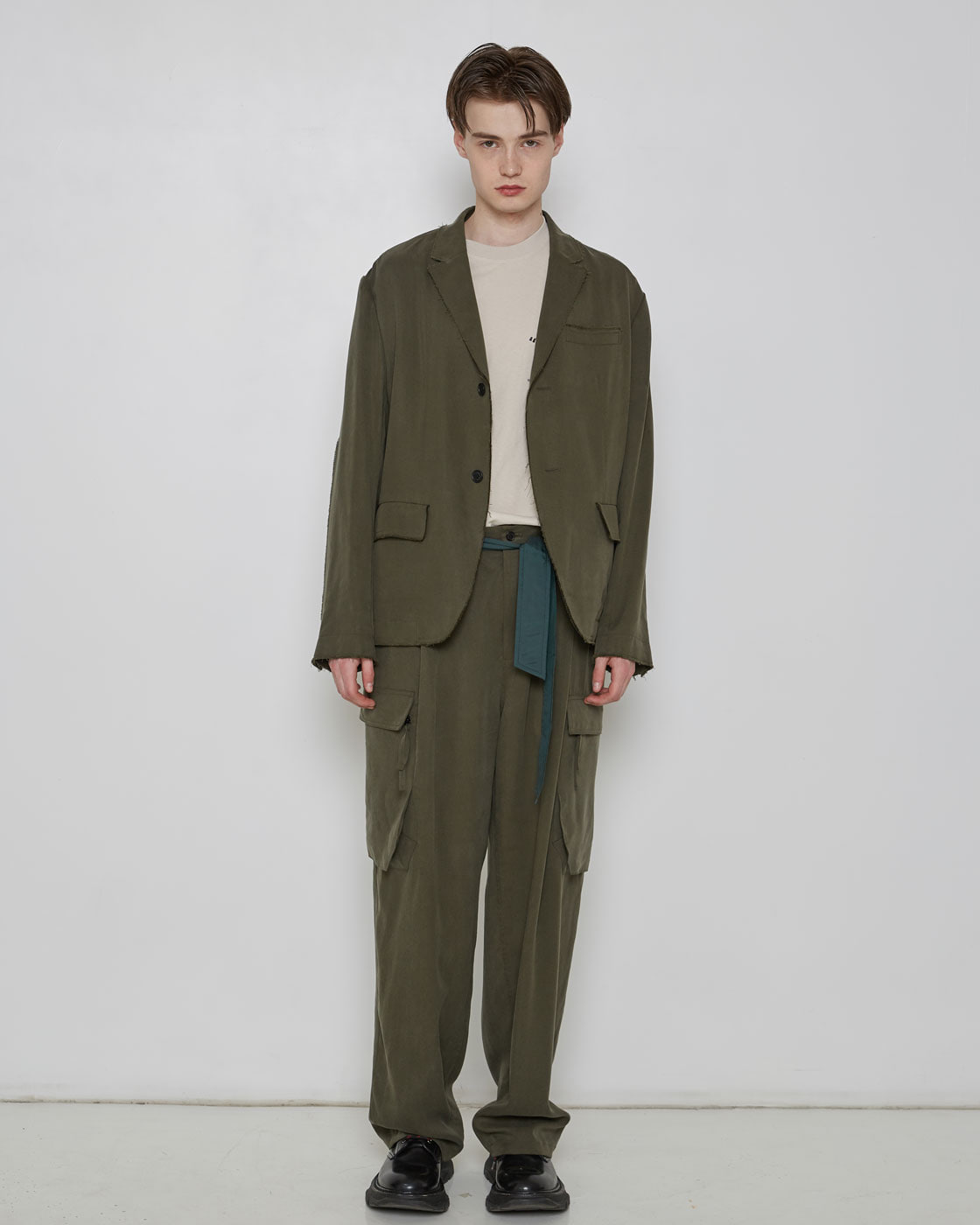 Khaki Raw Edges Smart Blazer