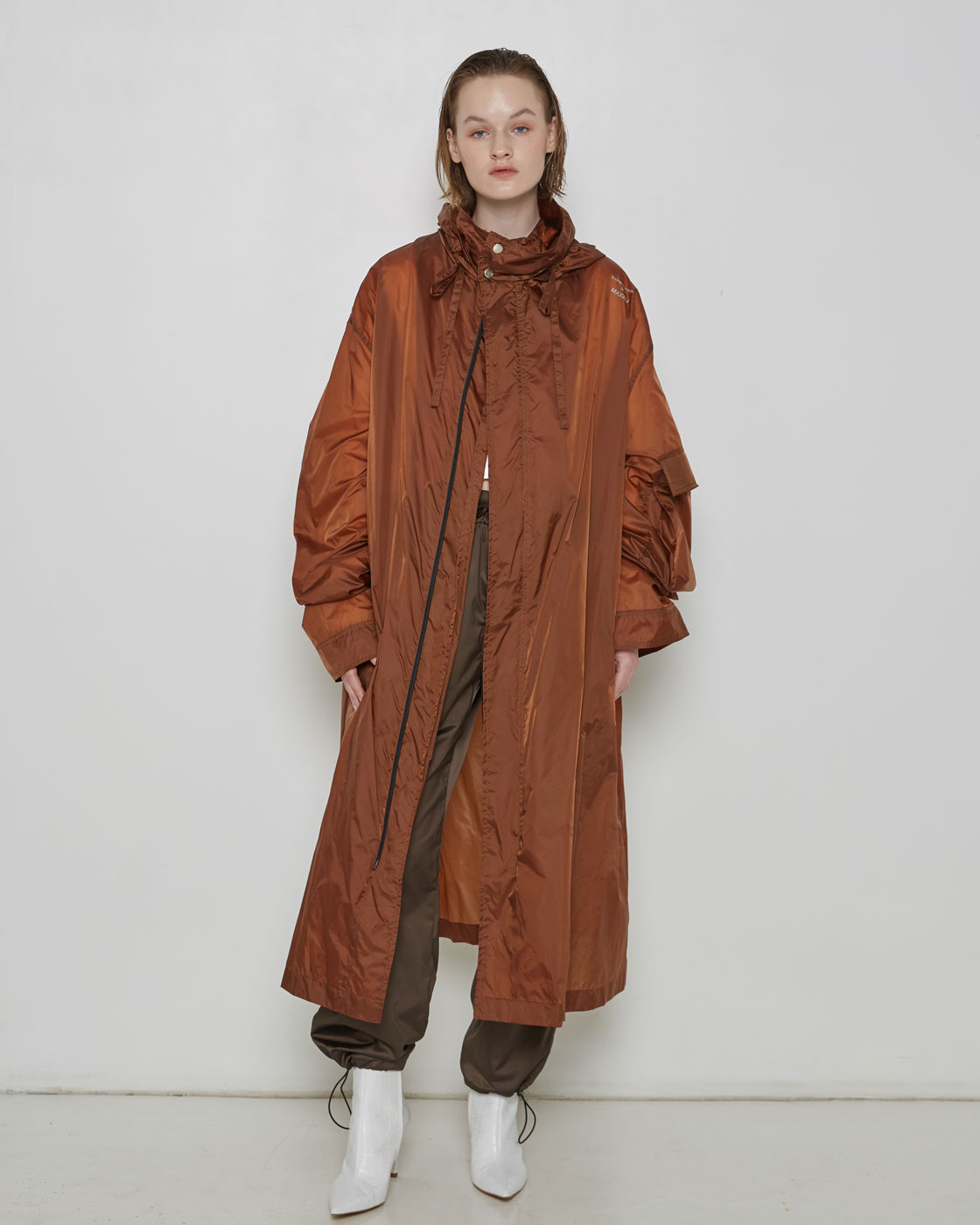 Brown Luminous Logo Print Rain Coat