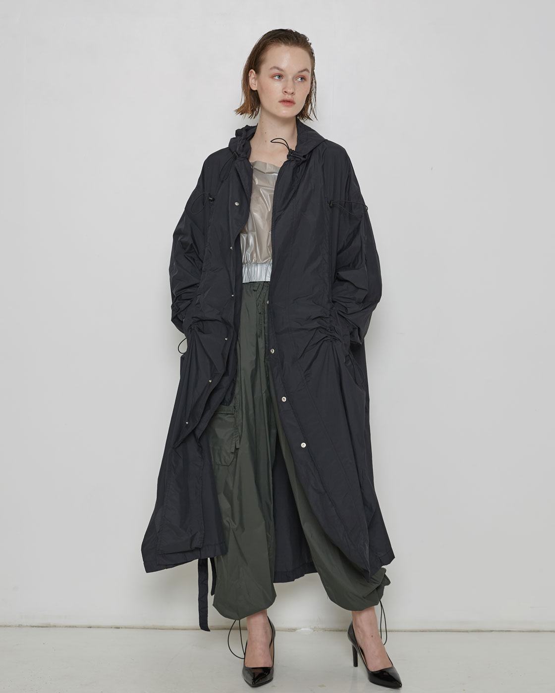 Black Luminous Logo Print Rain Coat