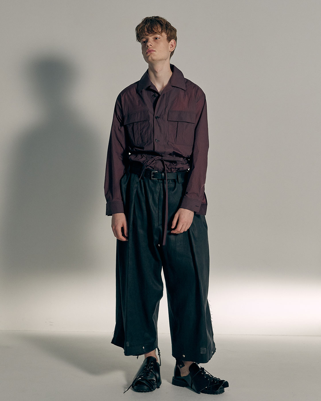 Glossy Black Linen Signature Wide Trousers
