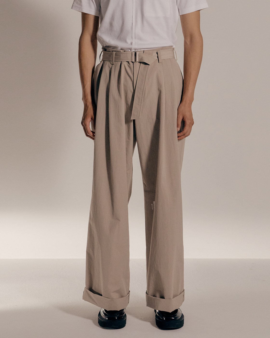 Beige Cotton Nylon Loose Trousers