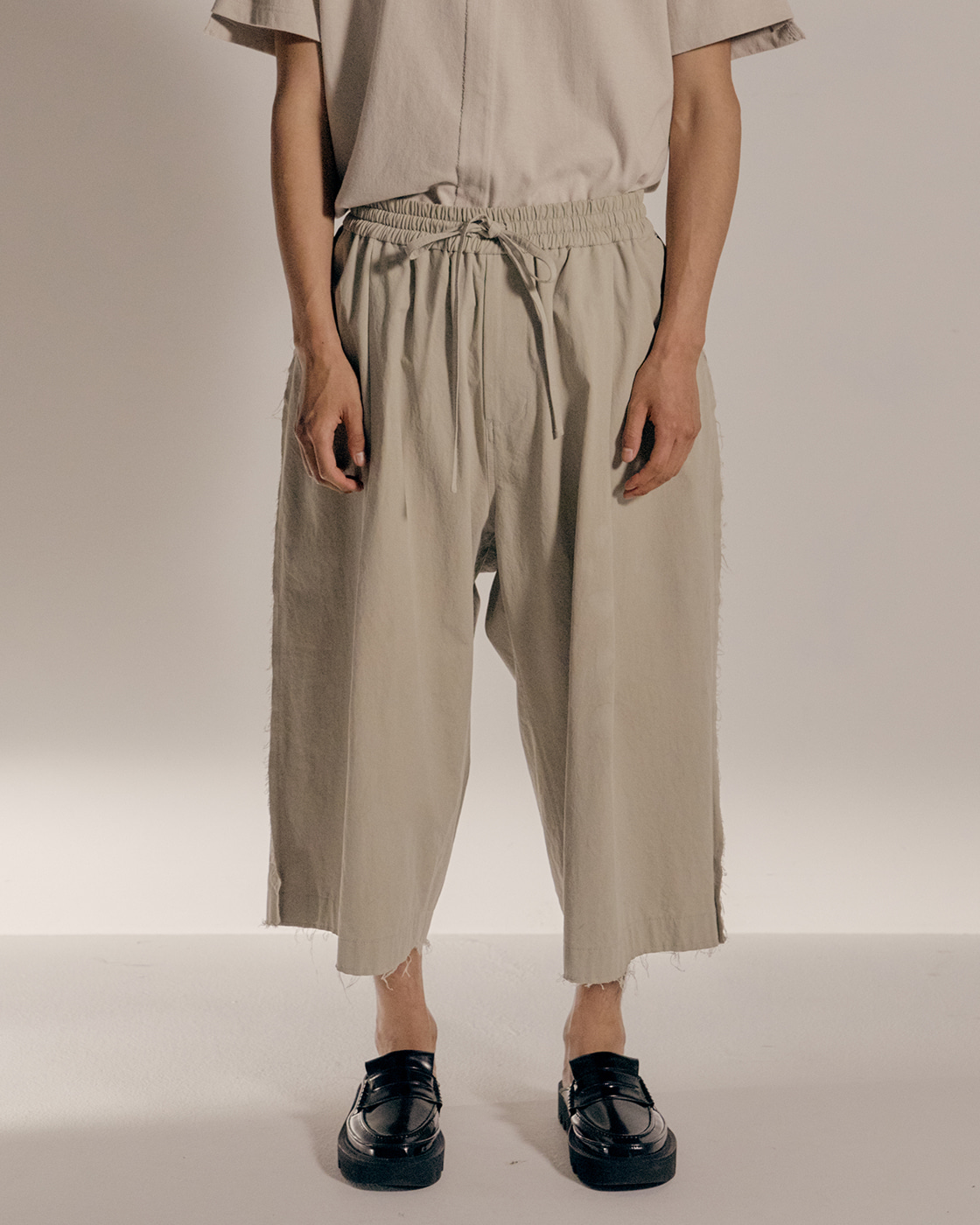 Beige Seam Out Cotton Wide Trousers