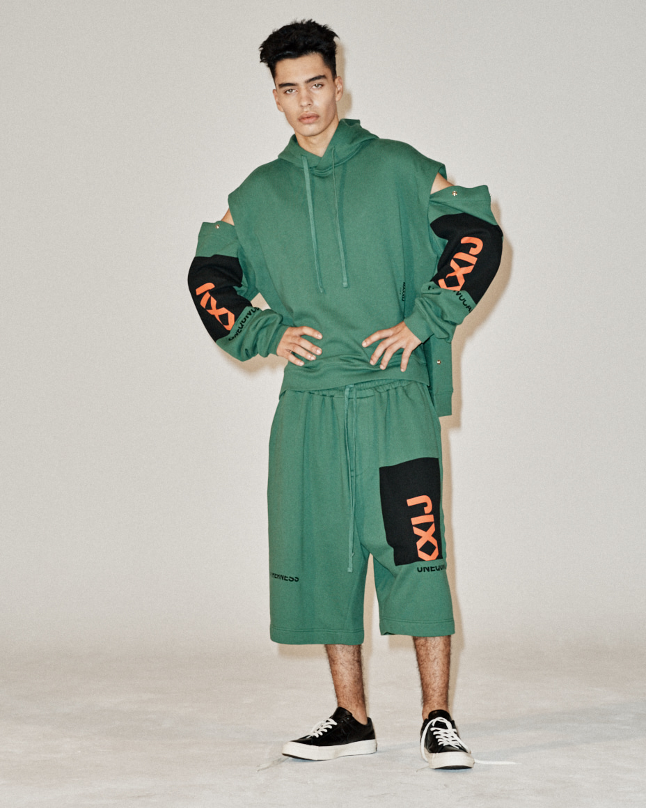 Collage Printed Jersey Wide Trousers Green
