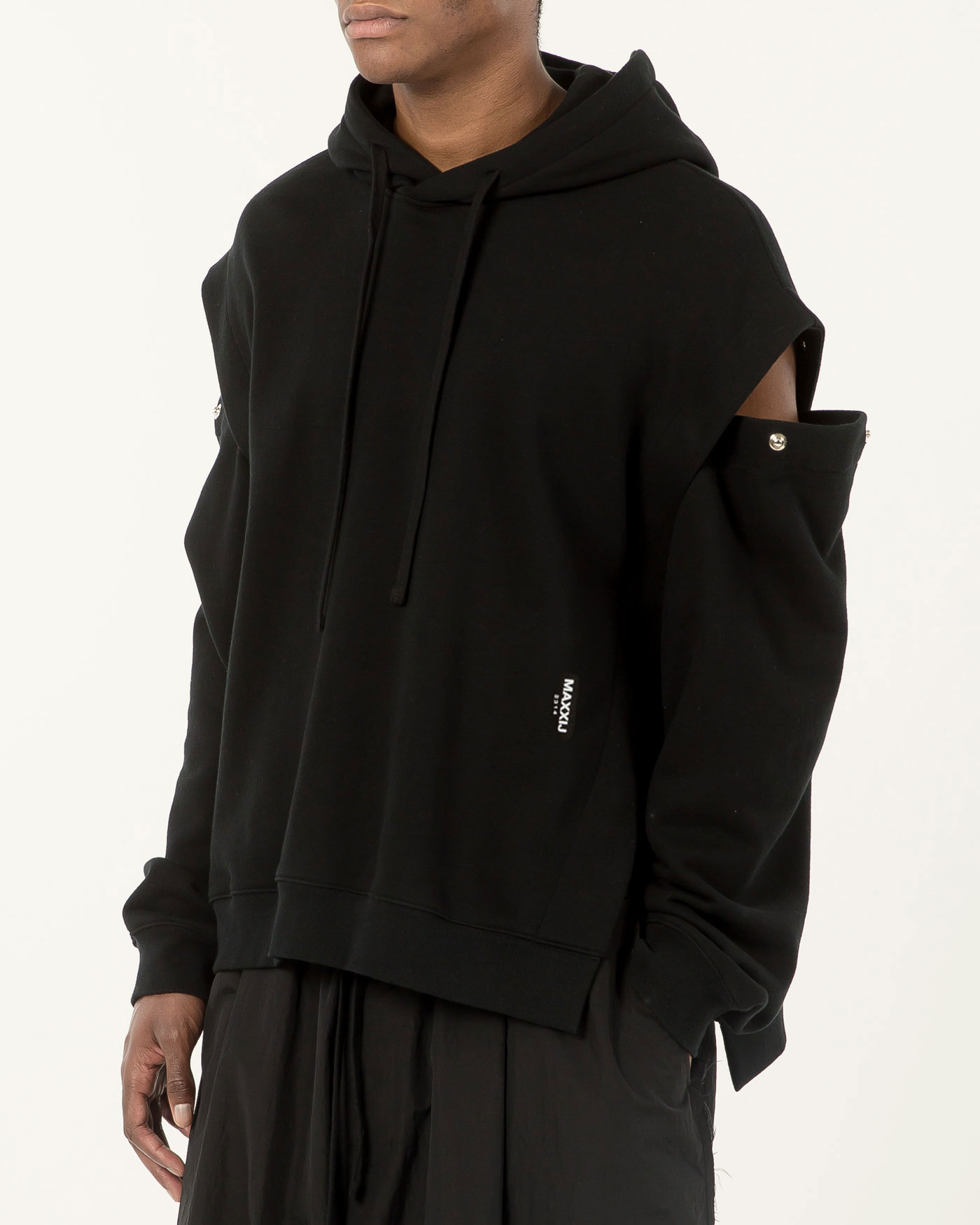Detachable Sleeve Hoodie Sweatshirt Black