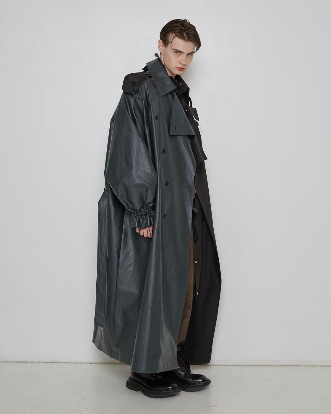 Waxed Effect Oversized Double Breasted Coat