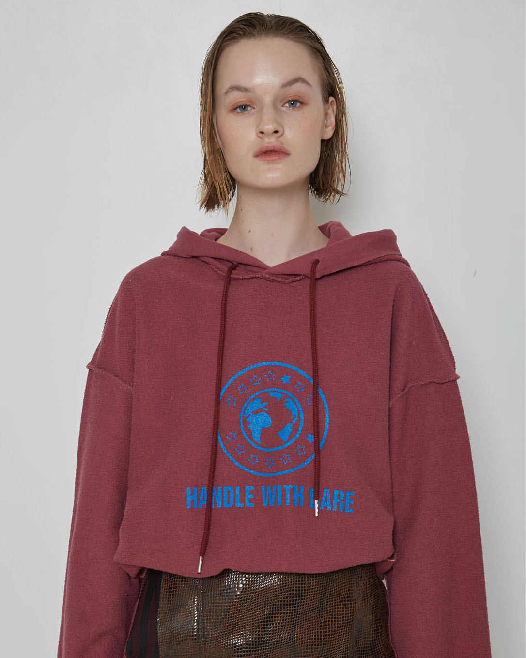Burgundy 'Handle With Care' Inside-Out Hoodie