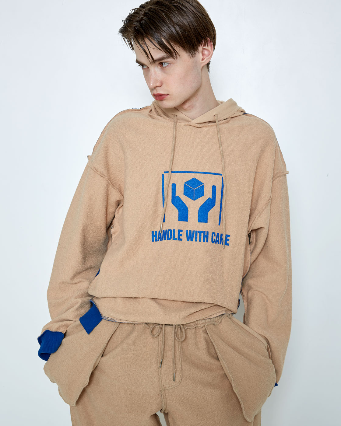 Beige/Blue 'Handle With Care' Inside-Out Hoodie